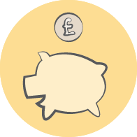 Piggy bank illustration with money going in
