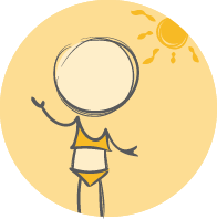 illustration of a character in bathing suit with sunshine behind them